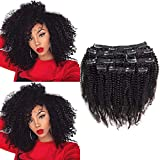 Riya - Extensiones de 100 % pelo grueso humano virgen Remy afro rizado con clip, doble trama para toda la cabeza, 4B 4C, 1b/4/27, 8 piezas/juego
