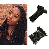 JiSheng - Extensiones de rastas de pelo humano 100% hechas a mano (diámetro 0,6 cm, 40 mechones), color negro natural #1B 12 inches