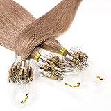 Hair2Heart 100 x 0.5g Extensiones de micro ring pelo natural - 50cm, color #10 marrón cenizo, liso