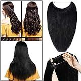 Alambre invisible en extensiones de cabello humano sin clip, de una pieza, cabello semireal recto, elástico ajustable, media cabeza